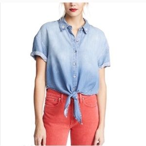 Splendid X Margherita Roma Tie-Front Chambray Top*